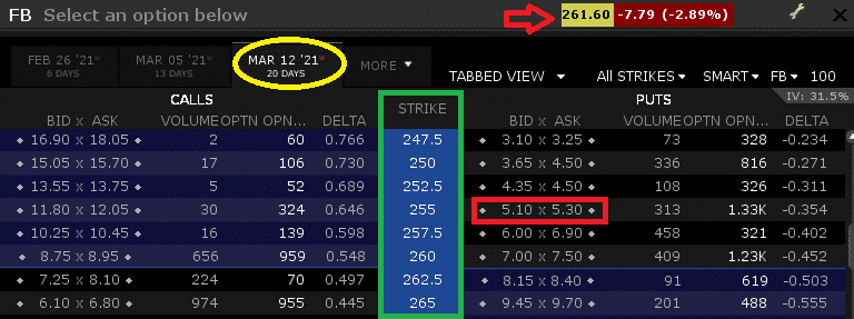 Example of the hedging of put options